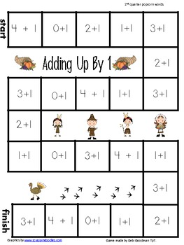 Adding Up by 1 to 5-Beginning Addition- 4 2nd quarter seasonal game boards