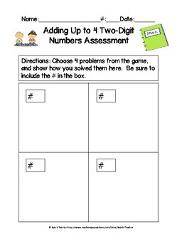Adding Up to 4 Two-Digit Numbers Task Cards & Game