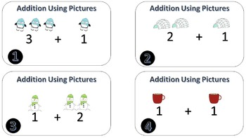 Adding Up to 5 with Pictures Task Cards -- CCSS