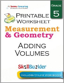 Adding Volumes Printable Worksheet, Grade 5