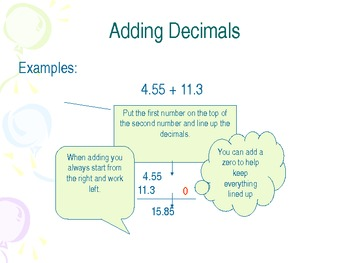 Adding Whole Number and Decimals