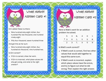 Adding Whole Numbers Extension Cards