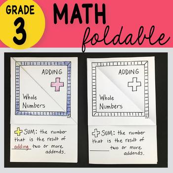 Adding Whole Numbers Foldable by Math Doodles 3rd Grade TEKS 3.4A, CC 3.NBT.A.2