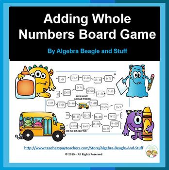 Adding Whole Numbers Monster Board Game