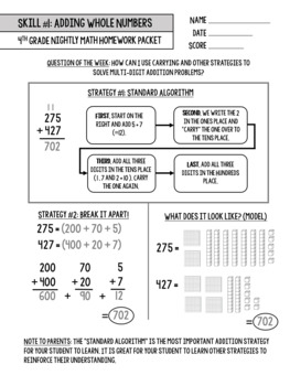Bridges Math Skill Mastery Supplement Packet #1: Adding Whole Numbers