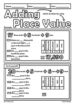 Adding Whole Numbers Using Place Value Elementary Math Doodle Notes
