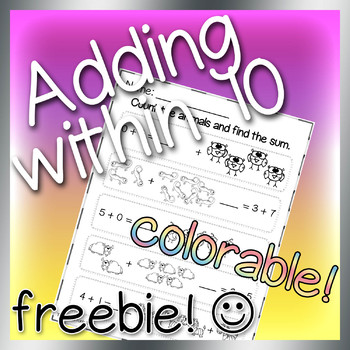 Adding Within 10- Freebie