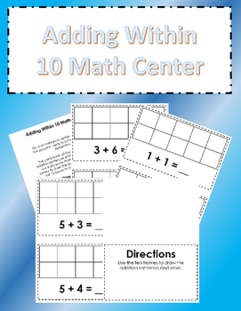 Adding Within 10 Math Center