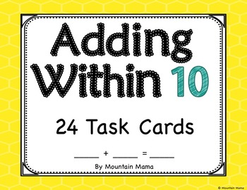Adding Within 10 Task Card Activities for Kindergarten or First Grade Math