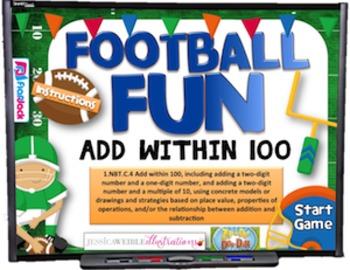 Adding Within 100 Football Fun Smart Board Game