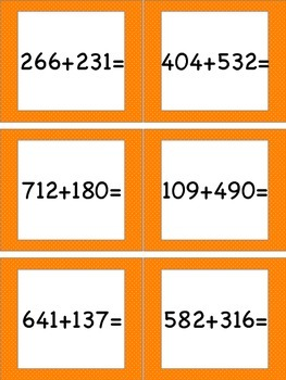 Adding Within 1,000 (No Regrouping) Task Cards