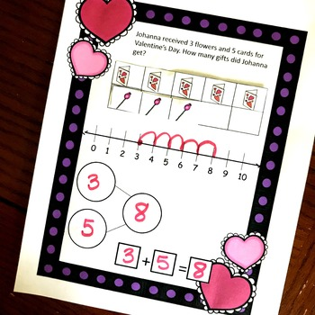 Adding Withing 10 Valentine's Day Math Centers K.OA.A.2