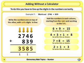 Adding Without a Calculator for Elementary School Math