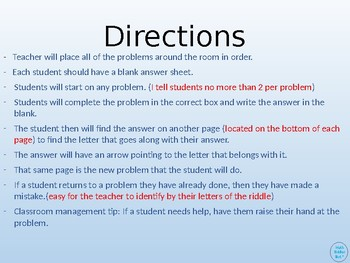 Adding Word Problems 20 or less Walk Around or Gallery Walk with a Riddle