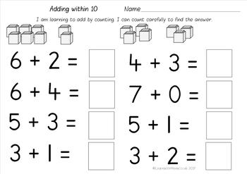 Addition Worksheet Pack - Add by counting objects