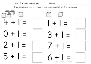 Addition Worksheets Pack - add 1 or 2 more