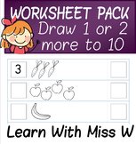 Addition Worksheets Pack - draw 1 or 2 more
