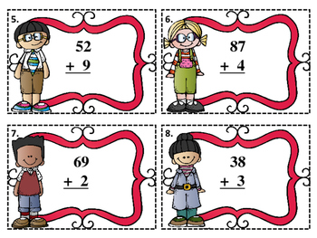 Adding 1-Digit Numbers to 2-Digit Numbers Task Cards