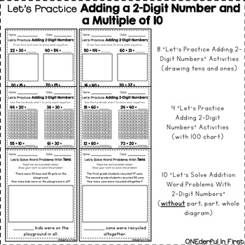 Adding a 2-Digit Number and a Multiple of 10 - Worksheets and NO-PREP Game