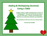 Adding and Multiplying Decimals Christmas Tree