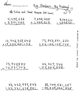 Adding, Subtracting and Reading Large Numbers- No Carrying -No Borrowing