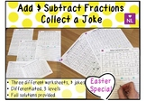 Adding and Subracting Fractions (Collect a Joke Worksheet) Easter