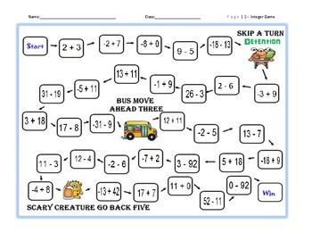 Adding and Subracting Integers Monster Board Game with Flash Cards