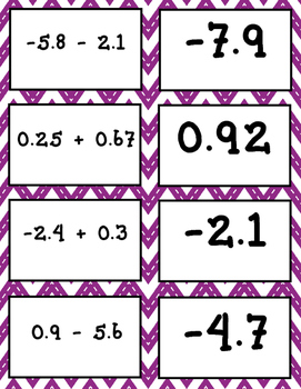 Adding and Subtacting Decimals Matching Game (includes negatives)
