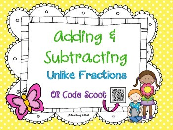 Adding and Subtracting Unlike Fractions Scoot 4th & 5th