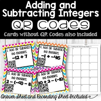 Adding and Subtracting Integers with or without QR Codes Task Cards