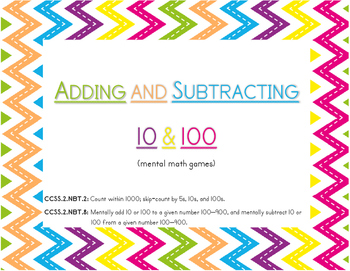 Adding and Subtracting 10 & 100 (mental math games)
