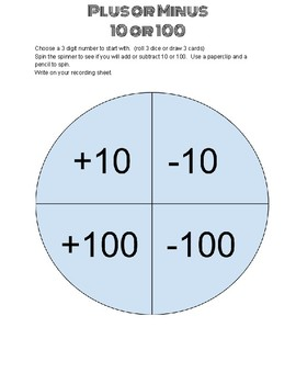 Adding and Subtracting 10 and 100 SPINNER GAME  (2.NBT.8)