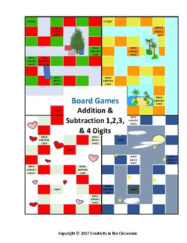 Adding and Subtracting 2,3,and 4 Digit Numbers Board Games