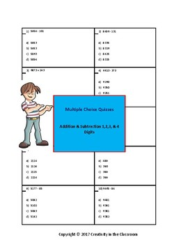 Adding and Subtracting 2,3,and 4 Digit Numbers  - Multiple Choice Quizzes