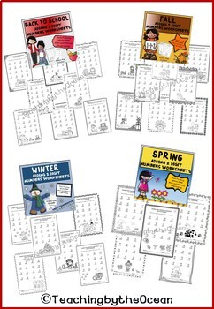Adding and Subtracting 2 Digit Numbers Worksheets All Year BUNDLE