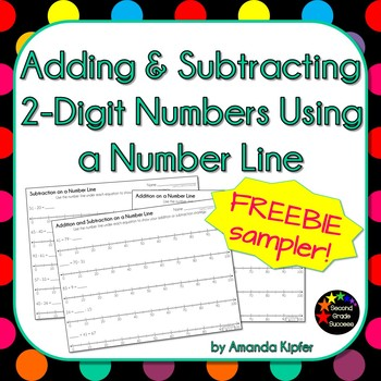 Adding and Subtracting 2-Digit Numbers on a Number Line FREEBIE