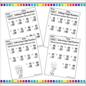Adding and Subtracting 2 Digit and 3 Digit Numbers Bundle