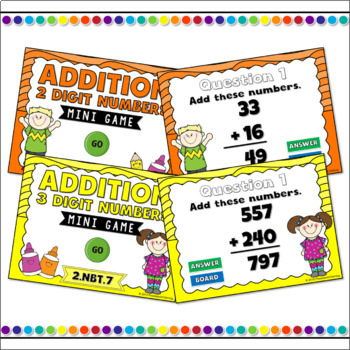 Adding and Subtracting 2 Digit and 3 Digit Powerpoint Game Bundle