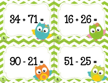Adding and Subtracting 2-digit Numbers Task Cards- Owl Theme