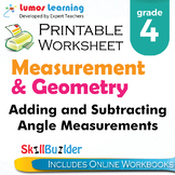 Adding and Subtracting Angle Measurements Printable Worksheet, Grade 4