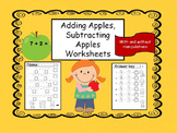Adding and Subtracting  Worksheets - apple themed