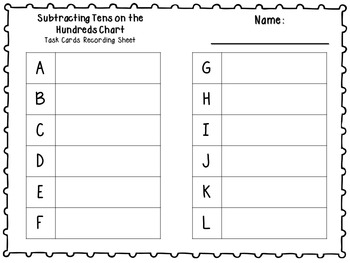 Adding and Subtracting By Tens on the Hundreds Chart Printables & Task Cards