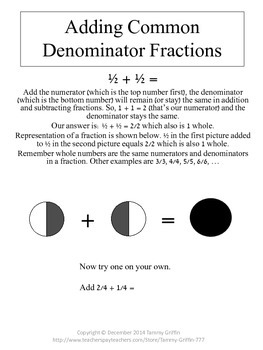 Adding and Subtracting Common and Uncommon Denominator Fractions Unit