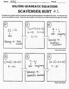 Adding and Subtracting Complex Numbers Scavenger Hunt