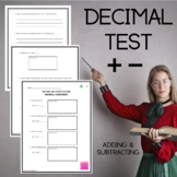 Adding and Subtracting Decimal Assessment