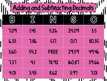 Adding and Subtracting Decimals Bingo Activity with Task Cards