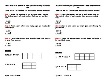 Adding and Subtracting Decimal Math Journal Notes
