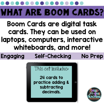 Adding and Subtracting Decimal Practice - Boom Cards