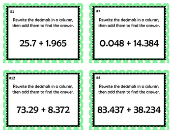 Adding and Subtracting Decimal Taskcard