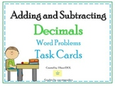 Adding and Subtracting Decimal Word Problems Task Cards